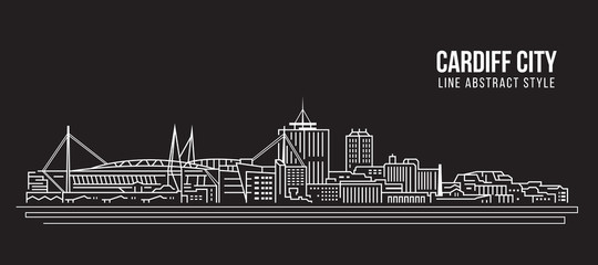 Panel Szklany Cityscape Building Line art Vector Illustration design - Cardiff city