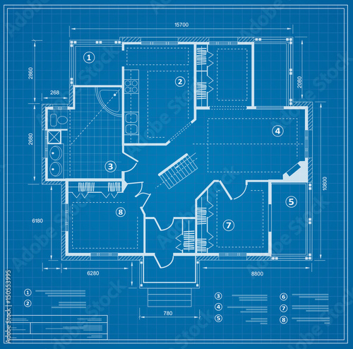 Blueprint house plan drawing. Figure of the jotting sketch of the construction and the industrial skeleton of the structure with the plan and dimensions