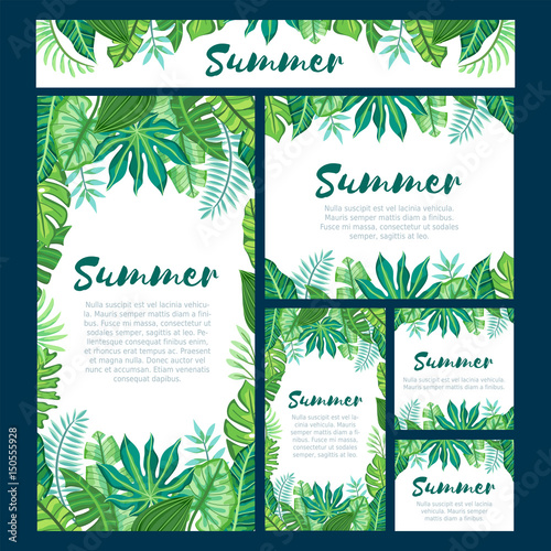Set of six different web design formats with tropical summer