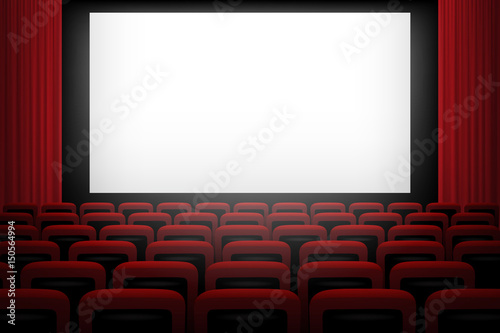 Movie Theatre Background With White Screen Red Curtains And Chairs Buy This Stock Vector And Explore Similar Vectors At Adobe Stock Adobe Stock