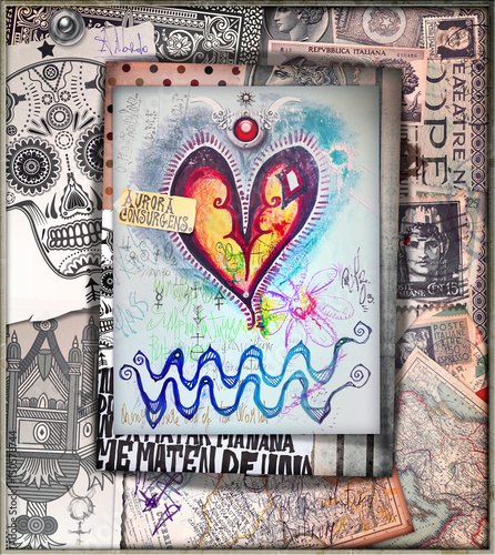Papiers peints Imagination Graffiti,scrapbook and esoteric collage series