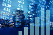 Double Exposure Of Graph, Stock Display And Rows Of Coins For Finance And Banking Concept