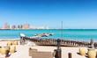 canvas print picture - Blick von dem Strand des Katara Kulturzentrums in Richtung Pearl in Doha, Katar