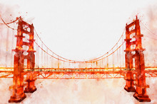 Digital Painting Of Golden Gate Bridge, Watercolor Style
