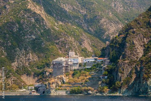 Fotografie, Obraz  View from the sea to the temple on the Holy mount Athos in Greece
