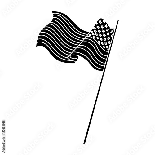 Photo  united states of america flag with pole silhouette vector illustration