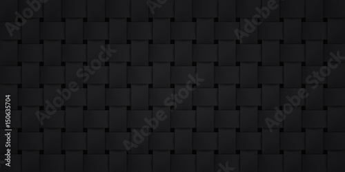 Volume realistic black texture, wicker background, 3d geometric pattern, design vector dark wallpaper