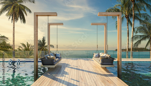 Fototapeta Beautiful Swing sofa on the Swimming pool waters outdoor beach obraz