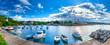 Leinwandbild Motiv Wonderful romantic summer evening landscape panorama coastline Adriatic sea. Boats and yachts in harbor at cristal clear azure water. Old town of Krk on the island of Krk. Croatia. Europe.