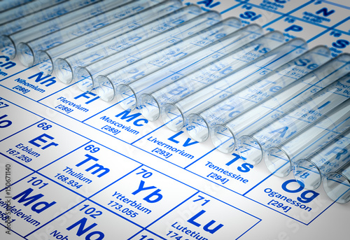 3d Rendering Of Test Tubes On Periodic Table Background Buy This