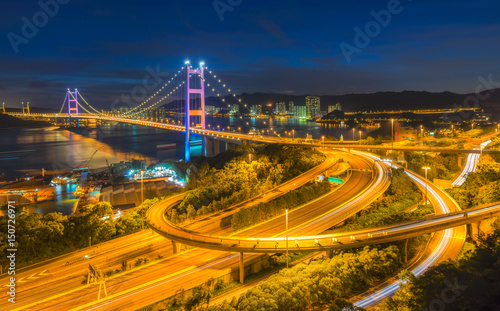 Foto op Aluminium Beijing Tsing Ma Bridge, Hong Kong.