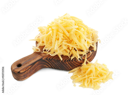 Wooden board with grated cheese on white background