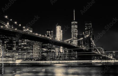 Printed kitchen splashbacks Brooklyn Bridge BW photo Brooklyn Bridge and Manhattan Skyline Night, New York City