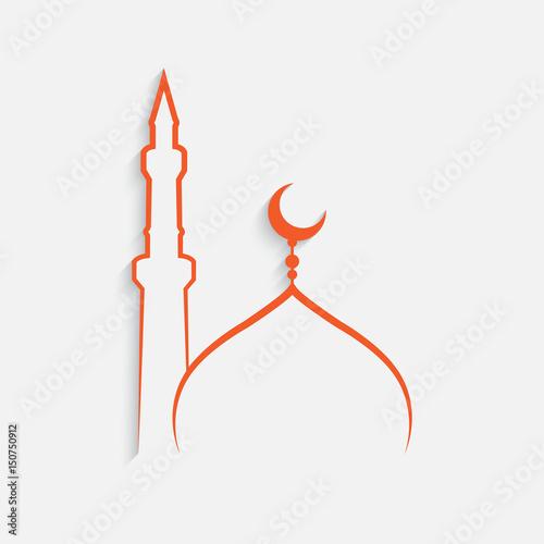 Fotografia mosque Islamic template on white background , vector