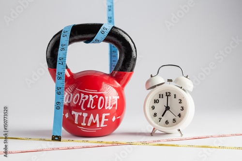 Red Kettlebell With Workout Time Lettering Traditional Alarm Clock