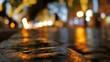 People walking on rainy cobbles european well illuminated street. City life.