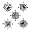 Vector icons of marine nautical navigation compass