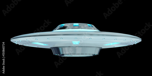 Garden Poster UFO Vintage UFO isolated on black background 3D rendering