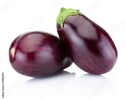 Two brinjal isolated on a white background