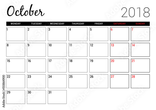 october 2018 printable calendar planner design template week starts on monday stationery design