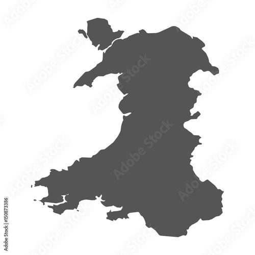 Fototapeta Wales vector map. Black icon on white background.