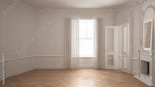 Fotografía  Classic empty room with big window, fireplace and herringbone wooden parquet flo