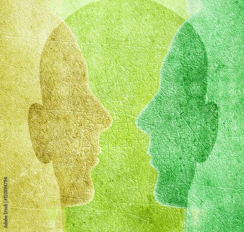 Obraz three colored heads digital illustration - fototapety do salonu