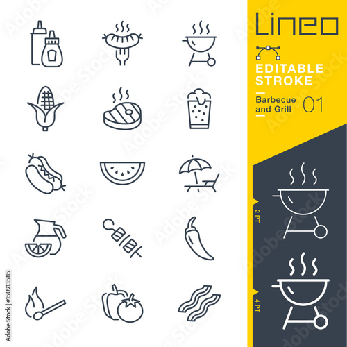 Fotografija  Lineo Editable Stroke - Barbecue and Grill outline icons
