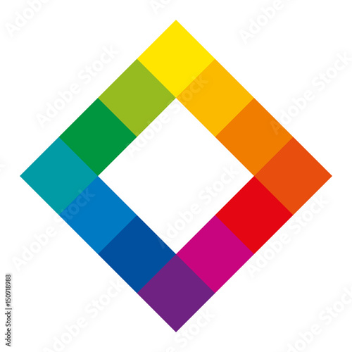 Twelve Unique Color Hues Of The Color Wheel In Square Shape Showing