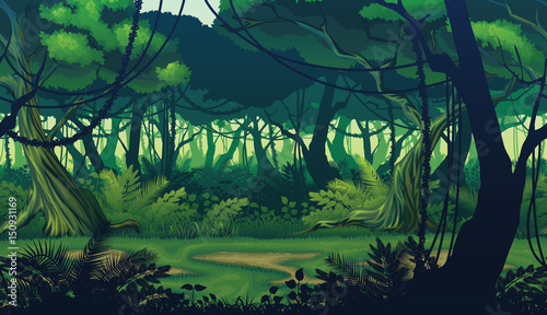 A high quality horizontal seamless background of landscape with deep jungle forest Wallpaper Mural