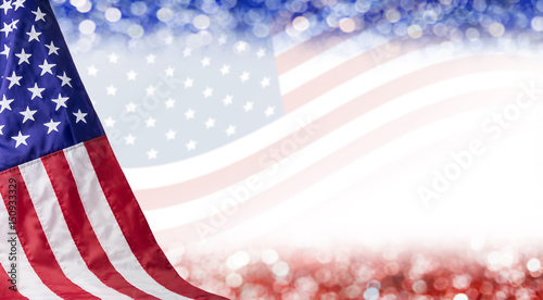 Fototapeta American flag and bokeh background with copy space for 4 july independence day a