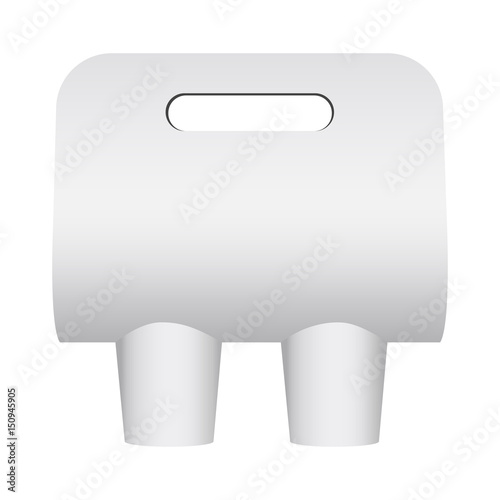 Paper Coffee Cup Carrier Mockup Holder Isolated On White Background Blank Template For