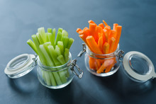 Healthy Diet Food. Carrots And Celery Chopped With Chopsticks.