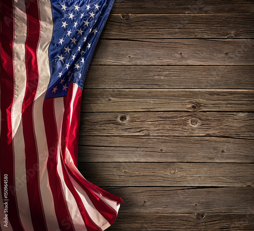 Patriotic American Celebration - Aged Usa Flag On Vintage Wood Wallpaper Mural