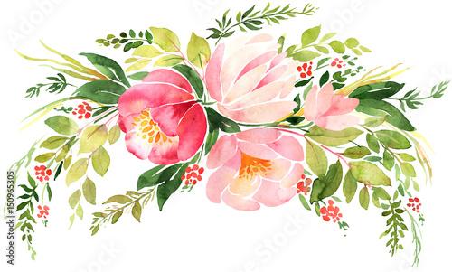 Artystyczny akwarela wieniec kwiatowy. Kompozycja dekoracji ślubnych