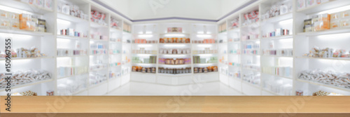panorama on medicine cabinet and store medicine and pharmacy drugstore for Blurry background with Perspective wood