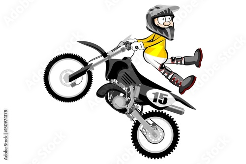 Printed kitchen splashbacks Motocross rider isolated over white backgrorund . Cartoon style.