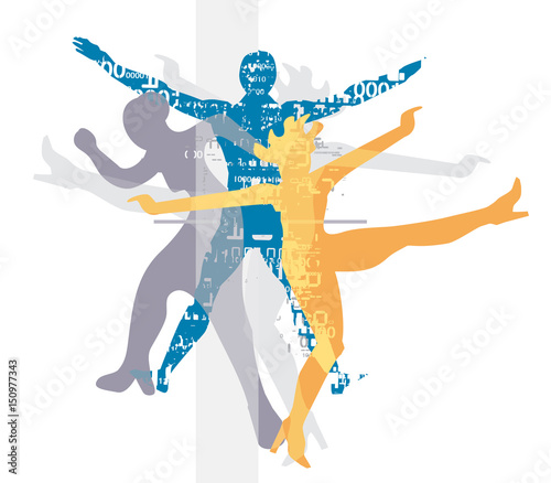 Obrazy na płótnie Canvas Disco techno Party Dancers. Stylized illustration of Disco and modern dancing Dancers silhouettes. Vector available.