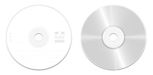 CD Or DVD Standard Model - Front And Back View - Realistic Illustrated Blank Compact Disc Or Digital Versatile Disc - Isolated Vector Illustration On White Background.