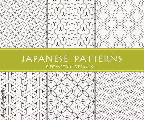 Japanese traditional patterns. Geometric designs. Wall mural