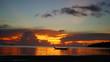 panorama of beautiful sunset by the sea