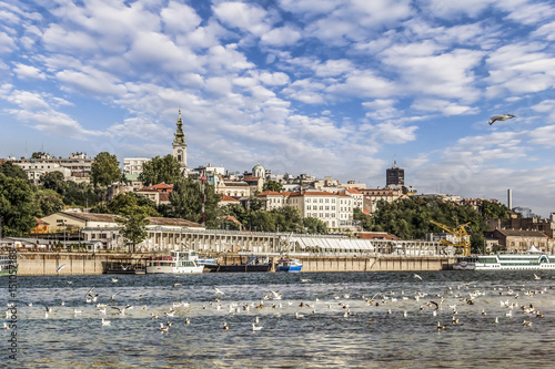 Belgrade Downtown Panorama With Tourist Port at Savamala Area Viewed From Sava River Perspective