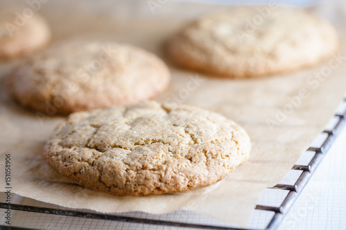 Valokuva  home-baked cookies on the baking sheet and bars