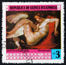 Postage Stamp Equatorial Guinea 1978 Leda And The Swan, Painting