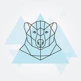 Polar bear head geometric lines silhouette.  - 151063321