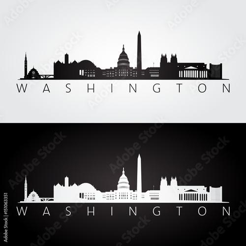 Washington USA skyline and landmarks silhouette, black and white design. Wall mural