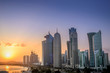 Doha, Qatar skyscrapers at sunset