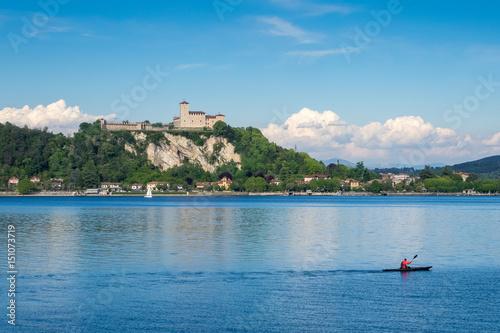 Fotografering  Angera Castle on Maggiore Lake, Lombardy, italy