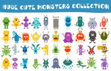 Vector Cute Monsters Collectio...
