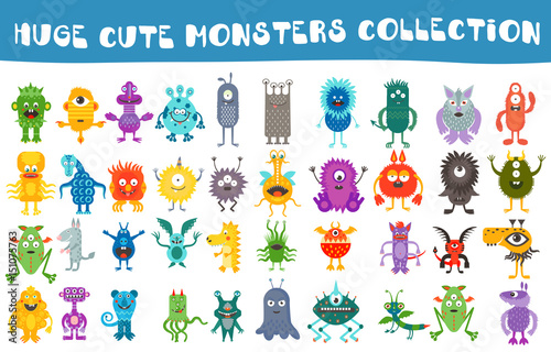Fotografia, Obraz Vector cute monsters collection set